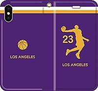 バスケ iPhone Xperia Galaxy Android シルエット スマホケース 手帳型 カバー(フルカラー/アウェイ/ロサンゼルス:23番_C) 12 iPhone XR