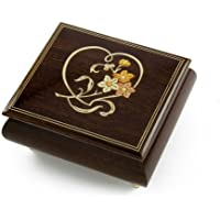 Delightful Warm Wood Tone Musical Jewelry Box with Floral and HeartアウトラインInlay 399. Twinkle Twinkle Little Star MBA18HEARTNO