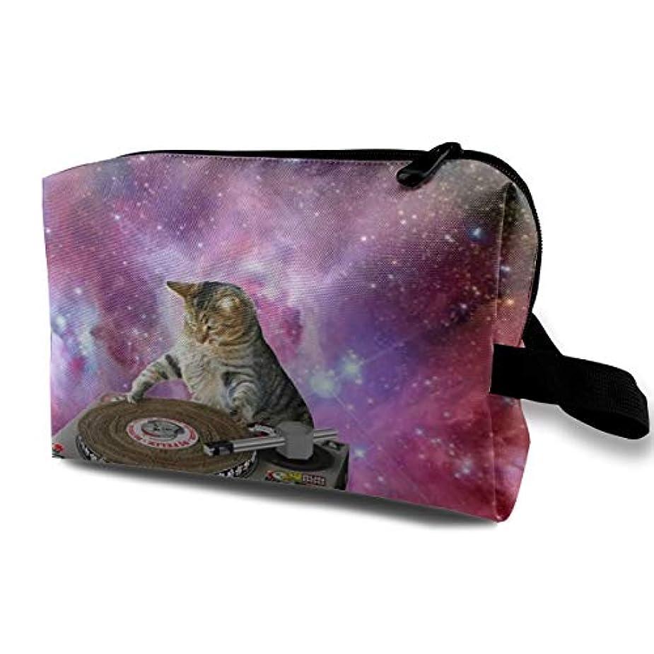 ふさわしい一生まっすぐFunny DJ Galaxy Cat 収納ポーチ 化粧ポーチ 大容量 軽量 耐久性 ハンドル付持ち運び便利。入れ 自宅?出張?旅行?アウトドア撮影などに対応。メンズ レディース トラベルグッズ