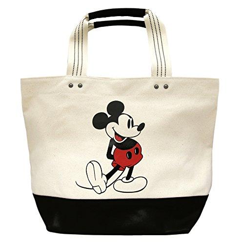 ミッキー マウス 白 キャンバス トート バッグ 大 ( マグネット開閉 ) ディズニー 通勤 通学 A4 大容量 鞄 かばん ( リゾート限定 グッズ )