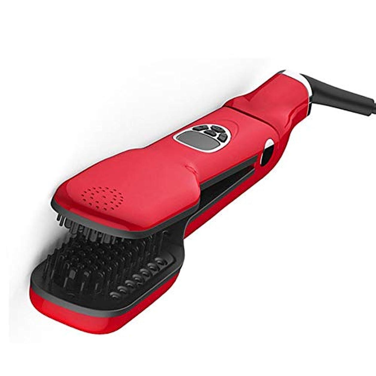 無効ペダル労働ZYDP ヘアスチームストレイテナーブラシセラミック帯電防止技術とすべてのヘアタイプに適したデジタルコントロール (色 : レッド)
