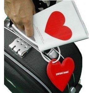 Tick Nick  携帯 パスポートケース & ネームタグ / ハート 空 パスポート タグ (ハート柄)