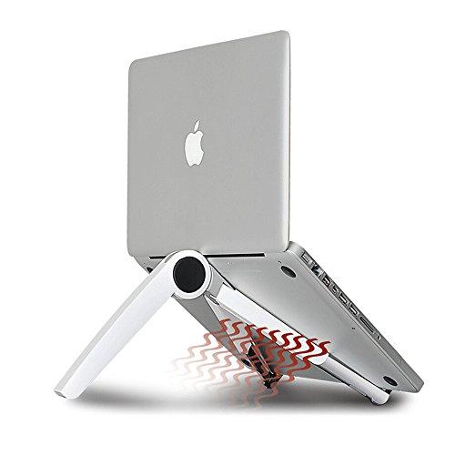 Lysong ノートパソコンスタンド PCタブレットIPADにも対応 折畳み式スタンド コンパクト収納 携帯可能 角度調整自在 14インチまでノートパソコン置き (ホワイト)