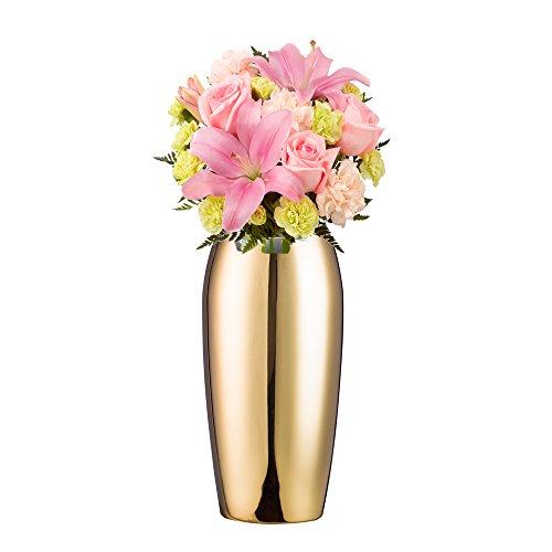 [해외]IMEEA 플라워베이스 꽃병 화분 플라워베이스 24cm 스테인리스 또는 병 花入れ 경면 연마 마무리 골드/IMEEA Flower base vases Vases Floral bases 24 cm stainless steel bottles Floral mirror surface finish gold