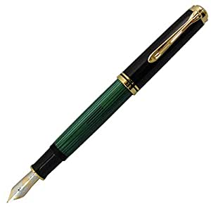 ペリカン 万年筆 EF 極細字 緑縞 スーベレーン M600 正規輸入品