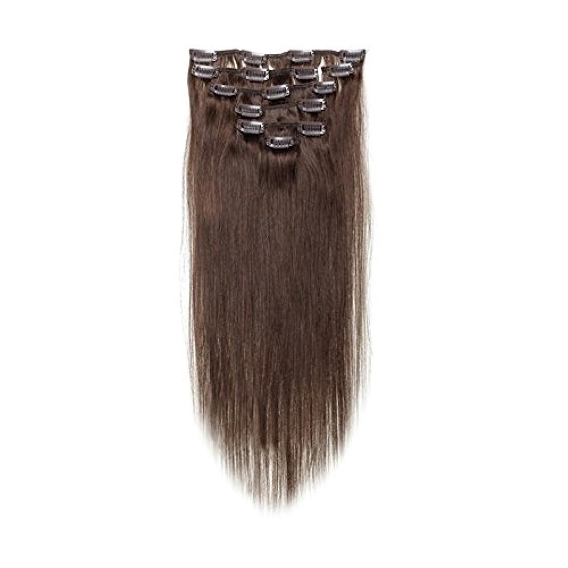 炭素拡散する抜本的なヘアエクステンション,SODIAL(R) 女性の人間の髪 クリップインヘアエクステンション 7件 70g 20インチ ダークブラウン