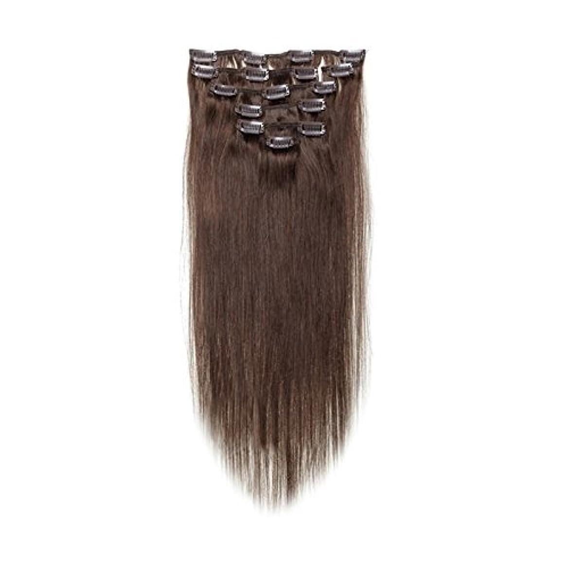 リス投獄水差しヘアエクステンション,SODIAL(R) 女性の人間の髪 クリップインヘアエクステンション 7件 70g 20インチ ダークブラウン