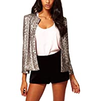 Lrud Women's Street Style Fashion Unique Glitter Open Front Sequins Party Club Blazer Jacket XS-XXL