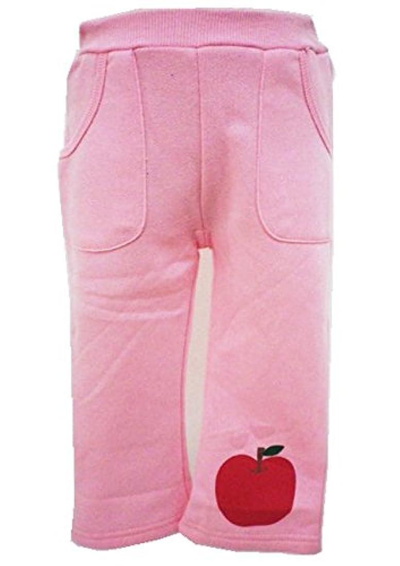 ギャングまつげ対象ベビー服 いないいないばぁっ!アップル(りんご) 裾プリント 起毛パンツ 【02、ピンク/95cm】