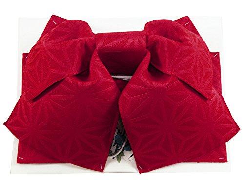 【さらさ】浴衣用 作り帯 麻の葉柄 結び帯 her-70 (赤)