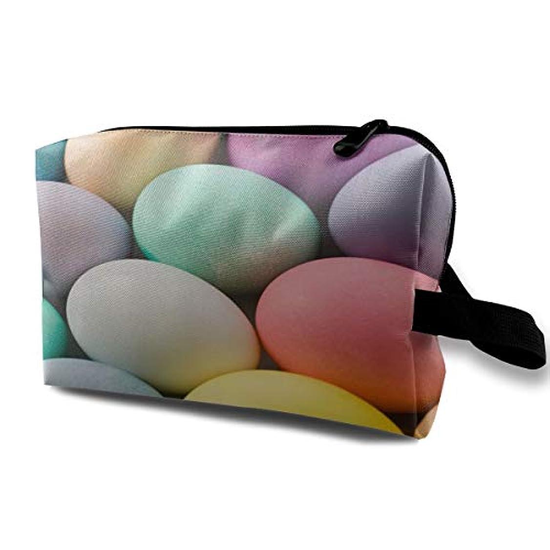 意気消沈した実際のバンケットMulticolor Easter Eggs 収納ポーチ 化粧ポーチ 大容量 軽量 耐久性 ハンドル付持ち運び便利。入れ 自宅?出張?旅行?アウトドア撮影などに対応。メンズ レディース トラベルグッズ