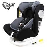 LETTAS チャイルドシート 回転式 新生児~12歳頃(0~36kg) ISOFIX対応 シートベルト固定 一年保証 ブラック