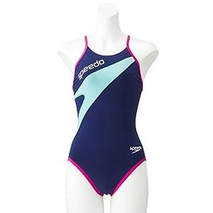 Speedo(スピード) 競泳水着 女の子 ジュニア トレインカットスーツ トレーニング ENDURANCE J 120 BP(バリブルー×ピンク) SD37T03