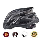 自転車ヘルメット LEDヘルッドライト付き サイクリングヘルメット 22通気穴 取り外し可能なパラソル サイズ調整可能 頭守るCPSC認証 子供/大人も適用 (黒)