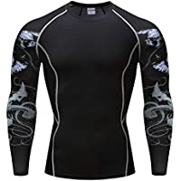 Quick Dry 3D Sport Shirt Fitness MMA Compression Shirt Long Sleeve T Shirts Bodybuilding 3D Tattoo Print Top Men T-Shirt