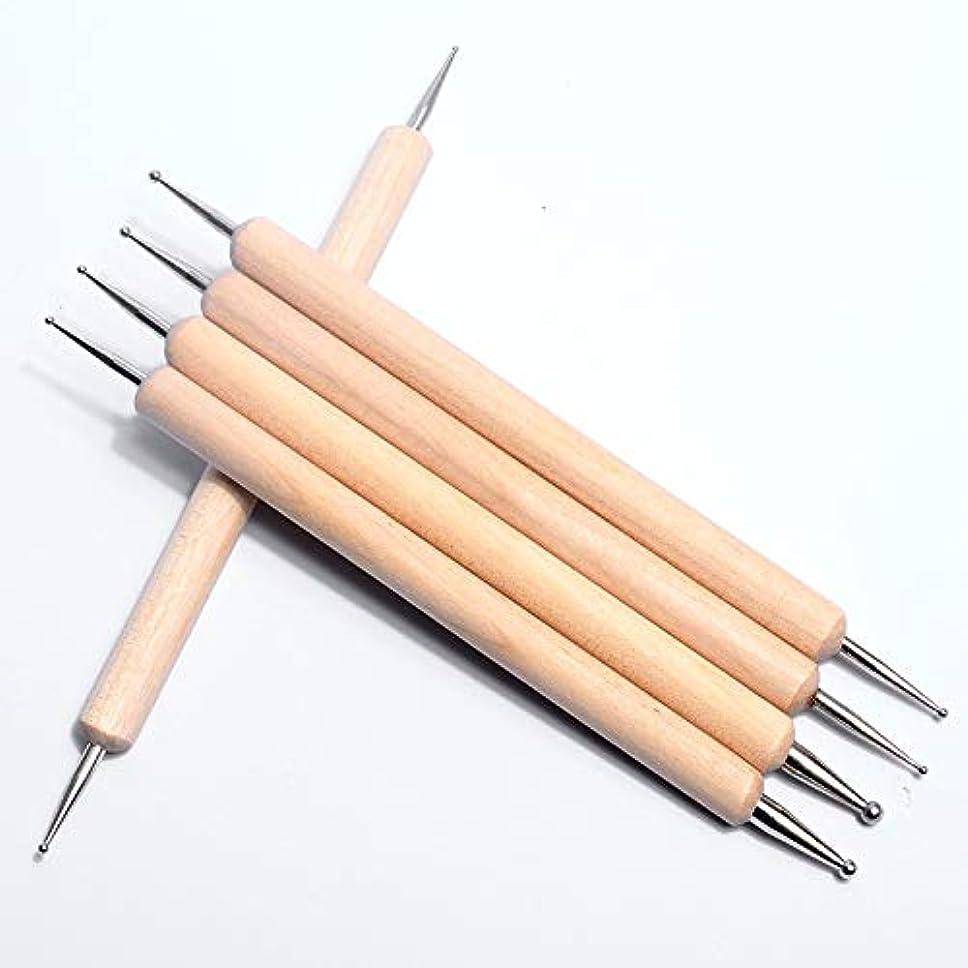腐食する混合防衛OWNFSKNL 木製ボールスタイラスドットペンネイルアートデザインツールセット用マニキュアエンボスパターン粘土彫刻モデリングツール5PC