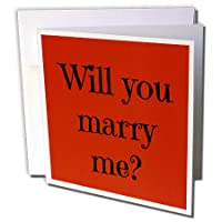 Xander Valentines Day – Will You Marry Me、ブラックLettering on Red Background – グリーティングカード Individual Greeting Card