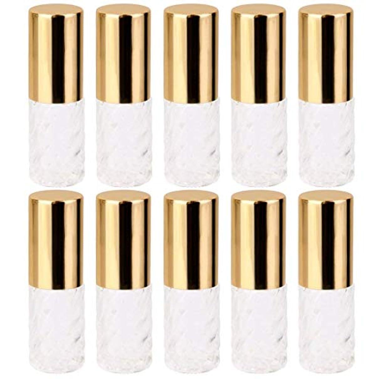 ファンカレンダーシンボル10個 5ml 透明 交換 旅行 空 ロールオン ガラス 香水瓶 容器 コスメ 詰替え 便利