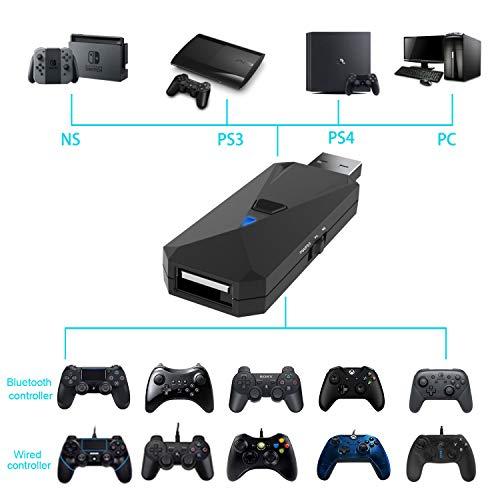 Uniraku PS4&Switch用有線と無線コントローラー変換アダプター PS4用コントローラー接続コンバーター Switch用 コントローラ接続 ツナガール 使い慣れたコントローラでプレイ 接続簡単 PS4/PS3/Nintendo Switch/Nintendo Switch Lite/PC対応 日本語説明書付き