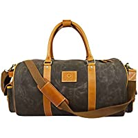 Waxed Canvas Duffle Bag | Water-Resistant l Weekender Bag by Aaron Leather (Green)