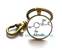 ChemistryジュエリーアドレナリンキーチェーンEpinephrineジュエリーガラスキーリングキーチェーンBiologyアドレナリンMoleculeジュエリー、q0281
