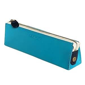 CLuaR ペンケース 三角ペンケース 本革 革 ファスナー ふで箱 筆箱 バイカラー 全10色 (10.ターコイズ ブルー)