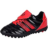 Inlefen Boys and Girls' Striped Printed Cleats Rubber Sole Turf Soccer Sneaker