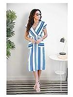 YLGROUP ドレス、ヨーロッパやアメリカの快適な柔らかい女性のカクテルドレスプリントドレスとVネックセクシーなスリットロングスカート -012524 (サイズ さいず : Xl xl)