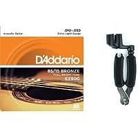 ダダリオ アコースティックギター弦 85/15アメリカンブロンズ Extra Light .010-.050 EZ900 + Planet Waves ストリングワインダー ギター用 ニッパー付き DP0002セット
