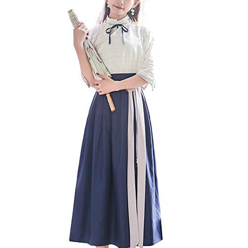 OCHENTA レディース ガールズ 春夏秋 中国伝統風 漢服 学生向け カジュアル 可愛い 綿 2セットトップス+スカート ワンピース ブルー M