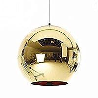 Injuicy照明シャンデリアトムディクソンゴールドグラスボール電気プレートエジソンペンダントライト E27ソケットシーリングランプKTVダイニングルームバーのシングルヘッド レストラン (ゴールデン 直径:350 mm)