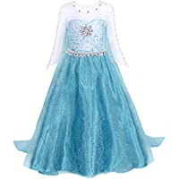 AmzBarley Girls Princess Elsa Fancy Dress Detachable Sequin Snowflake Cape Birthday Party Halloween Costume Dress Up Outfit