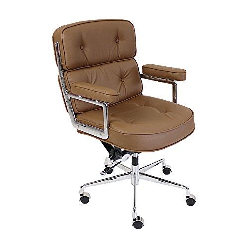 イームズアルミナムチェア タイムライフチェア エグゼクティブチェア 本革 ライトブラウン キャスター 肘掛け クロムメッキ クロームメッキ 回転 昇降 高さ調節 レザー オフィスチェア ロッキングチェア ミーティングチェア 椅子 いす イス チェアー 8298llbr