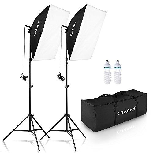 "CRAPHY 5500K写真スタジオソフトボックス照明キット 肖像用 撮影用 連続照明(20x28""ソフトボックス + 高さ80"" のライトスタンド +2x 85w 電球 + キャリングバッグ)"