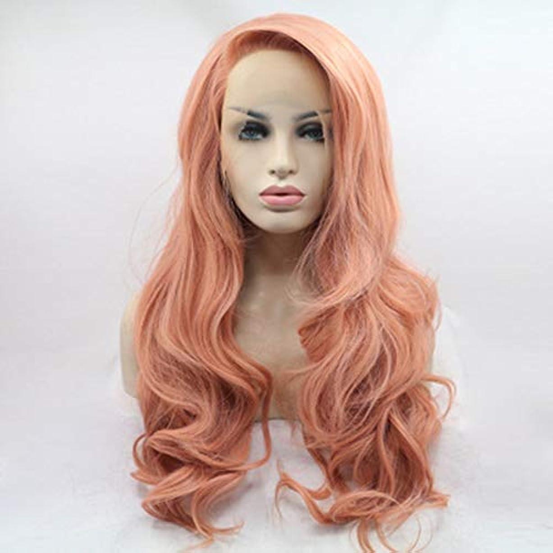 放置オーバードローシェルターヘアピース 女性ヨーロッパと米国のレースの化学繊維の前にオレンジ色の長い巻き毛のかつら