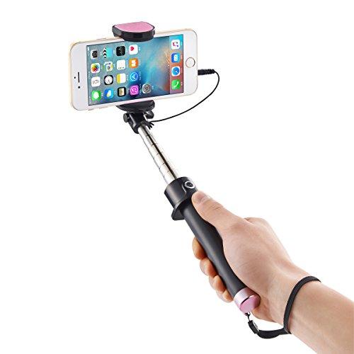 SIDARDOE 自撮り棒 セルカ棒 有線 ローズゴールド シャッターボタン付け iPhone Android 対応