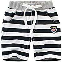 COODIO Children Unisex Stripes Pattern Middle Length Cotton Pants-hot