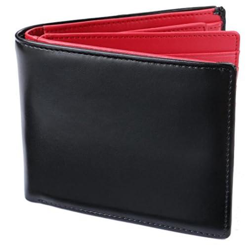 [レガーレ] 二つ折り財布 本革 大容量 カード15枚収納 カラー豊富 (ベロア化粧箱入り) 大容量2つ折り財布 ブラック×レッド