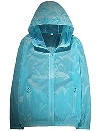 Keaac メンズソリッドカラーウインドブレーカー防水レインコートフード屋外ジャケット