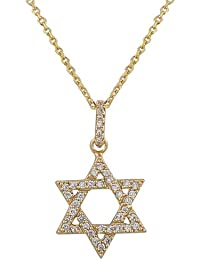 925 Sterling Silver Yellow Gold-Tone Classic Jewish Star of David CZ Pendant Necklace