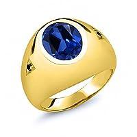 Gem Stone King 6.20カラット シミュレイテッドサファイア シルバー 925 イエローゴールドコーティング 天然ブラックダイヤモンド 指輪 リング