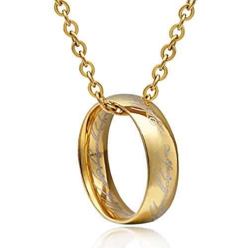 [해외][거니는 반지 목걸이] Wonvin 심플 남성 남성 펜던트 남성 목걸이/[Black Ring Necklace] Wonvin Simple Male Men`s Pendant Mens Necklace