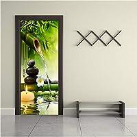 Mingld 3D壁紙中国風グリーン竹風景ドアステッカー防水壁画リビングルーム研究家の装飾-150X120Cm