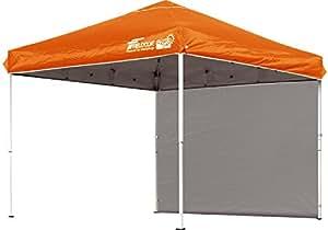 FIELDOOR 組立て簡単!! 2.5x2.5m ワンタッチタープテント オレンジ G03 専用横幕/サイドシート1枚付属 【別売りオプションパーツが豊富】 (高耐水加工&シルバーコーティング/UVカットコーティング)