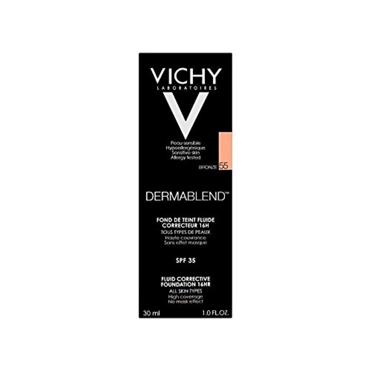 樫の木空気贅沢ヴィシー是正流体の基礎30ミリリットル青銅55 x4 - Vichy Dermablend Corrective Fluid Foundation 30ml Bronze 55 (Pack of 4) [並行輸入品]