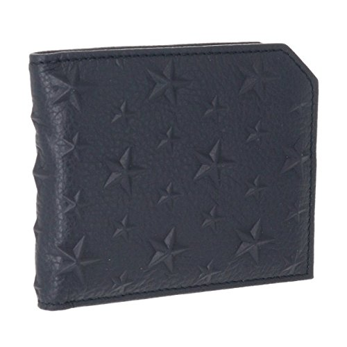 Jimmy Choo(ジミーチュウ) 財布 メンズ CALF EMBOSSED STARS ON GRAINY 2つ折り財布 NAVY ALBANY-EMG-0004 [並行輸入品]