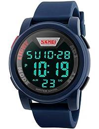 デジタル腕時計 子供腕時計 日本製クオーツ アラーム 防水 ストップウオッチ 日付 ビックサイズ ブルー