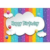 Qinunipoto ビニール 1.5x1m 白い雲 漫画 写真の背景 背景布 happy birthday 誕生日パーティーの背景 新生幼児撮影用背景布 子供用 多彩な背景 カスタマイズ可能な背景 誕生日会 女の子 誕生日 写真ツール