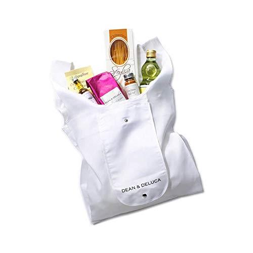 DEAN&DELUCA(ディーンアンドデルーカ) ショッピングバッグ 折りたたみエコバッグ ブラック ホワイト (オフホワイト)
