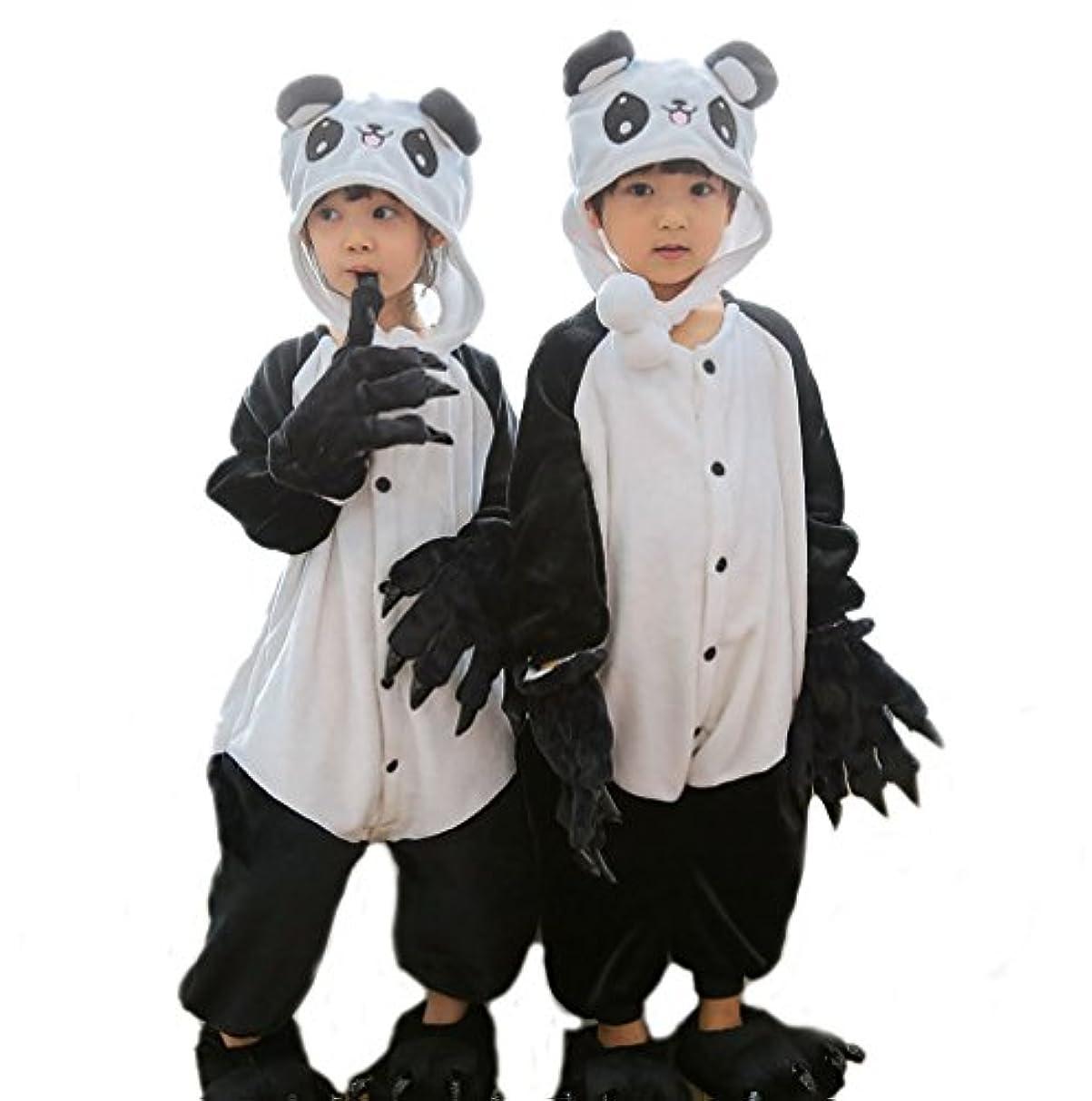 混乱好意交渉するキャップ着ぐるみ 子供着ぐるみ 動物着ぐるみ コスプレ衣装 フリース製 (130CM, パンダ)